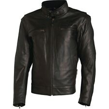 RICHA BOSTON LEATHER MOTORBIKE MOTORCYCLE JACKET CE APPROVED ARMOUR- BLACK