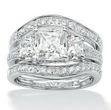 Princes cut set aaa cubic zirconia 14kt white gold filled engagement band ring