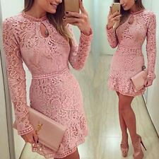 New Women Bodycon Slim Evening Cocktail Party Long Sleeve Lace Floral Mini Dress