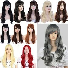 UK Synthetic Hair Wigs Straight Full Wig Long Curly Ombre Cosplay Off Black hg2