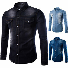Fashion Mens Casual Shirt Long Sleeve Slim Fit Formal Dress Shirts Tops Stylish