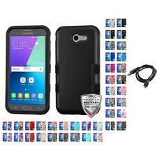 For Samsung J3 Emerge Hybrid TUFF IMPACT Phone Case Hard Rugged Cover + Cable