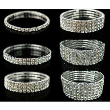 Fashion Silver Bling Crystal Stretch Elastic Bracelet Bangle Wristband Jewelry
