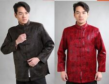 Handsome Chinese men's clothing jacket/coat Cheongsam Red Brown SZ: M L XL XXL