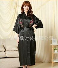 Chinese Women's silk/satin emboridery Kimono Robe Gown nightrobe Sz: M -3XL