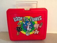 "RARE Vintage 1977 ""Looney Tunes"" Red Plastic Lunchbox by Thermos Warner Bros."