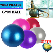 45 55 65 75cm Yoga Gym Ball Exercise Pilates Fit Anti Burst W/ Foot Pump Workout