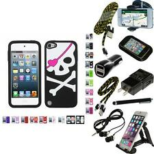 For iPod Touch 5th 6th Gen Silicone Design Skin Soft Phone Case Cover + Bundle