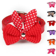 New Bowknot Adjustable PU Leather Dog Puppy Pet Cat Collars Necklace HGUK