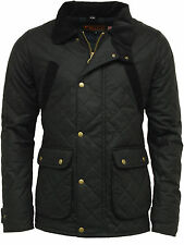 Mens Game Oxford British Made Quilted Wax Jacket Country Wear Wax Jacket - Black