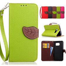Leaf Magnetic Flip PU Leather Wallet Card Holder Stand Case Cover For Samsung