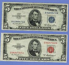LOT OF 2 5 DOLLAR BILLS PAPER CIRCULATED 1953 BLUE SILVER CERTIFICATE & RED SEAL