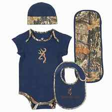 BROWNING BUCKMARK & NAVY BLUE MOSSY OAK COUNTRY CAMO BABY INFANT SET - 4 PC