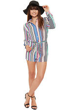 Womens Striped Playsuit Long Tab Sleeve Shorts Button Belted New Ladies Top 8-16