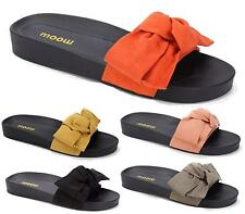 LADIES SUMMER SLIP ON FAUX SUEDE BOW FOOTBED COMFORTABLE MULE SANDALS SLIPPERS