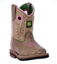 Brand New John Deere JD1021 Baby's Tan Square Toe Pull-On Wellington Boots