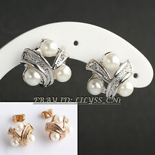 B1-E812 Fashion Rhinestone White Pearl Stud Earrings 18KGP Crystal