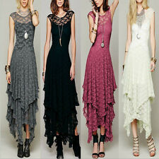 Vintage Women Sheer Lace Long Dress Bodycon Party Casual Prom Evening Cocktail