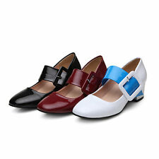 New AU Size Synthetic Patent Leather Mary Jane Formal Med Heel Women Shoes s143