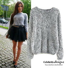 kn74 CFLB Winter Women's Vintage Cable Knit Sweater Retro Grey Mohair Jumper