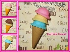 """Large 2 or 3 Scoop Ice Cream Cone Large Charm 18"""" Necklaces Retro Funky USA MADE"""