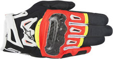 Astars Mens Black/Red/White/Yellow Fluo SMX-2 Air Carbon v2 Motorcycle Gloves