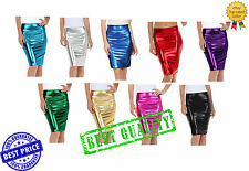 New Women High Waist Wetlook PVC Leather Shiny Metallic Liquid Pencil Midi Skirt
