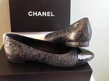 CHANEL Pointed Cap Toe Black/Silver Leather Flats Ballet Shoes 39.5 $795 NIB!