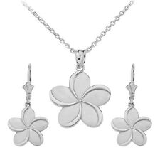 Sterling Silver Hawaiian Plumeria Flower Pendant Necklace & Matching Earrings
