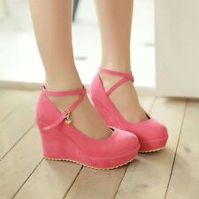 Womens Suede High Wedge Heels Platform Ankle Straps Pumps Round Toe Shoes