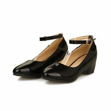 Size 5-15 Womens Leather Wedge Heels Platform Ankle Straps Pumps Plus Size Shoes