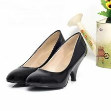 Womens Synthetic Leather High Kitten Heels Round Toe Pumps Lady Shoes Black