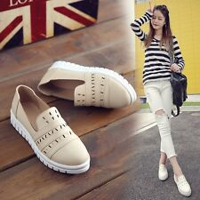 Womens Leather Hollow Round Toe Flat Heels Platform Loafer Moccasin Casual Shoes