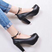 Elegant Womens Leather Ankle Straps High Chunky Heels Platform Solid Pumps Shoes
