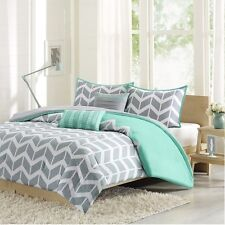 Modern Teal & Grey Comforter with Pillow Shams with Decorative Pillows