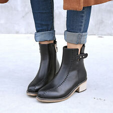 UK Plus Size Synthetic Leather Med Heel Shoes Lady Martin Boots Zip Ankle F084