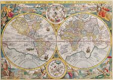 Poster Print Antique Old Maps Old Map Of The World Reprint 15