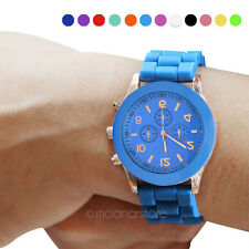 UK Fashion Women Mens New Style Geneva Silicone Jelly Sports Quartz Wrist Watch