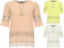Plus Womens Crepe Necklace Bell Sleeve Top Laced Floral Lace Trim Layered