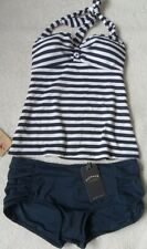 EX FAT FACE NAVY MIX NAUTICAL STRIPE NON-WIRED PADDED HALTERNECK TANKINI  6 - 14