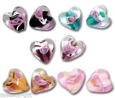 Wholesale Mixed Lampwork Color-Lined Foil Heart Beads 12x12mm