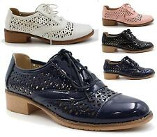 WOMENS LADIES CASUAL LOW HEEL LACE UP OXFORD LOAFERS BROGUES LASER CUT SHOES
