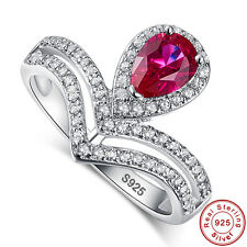 Wedding Rose Red Ruby White Fine Real 100% 925 Sterling Silver Ring Size 6 7 8 9