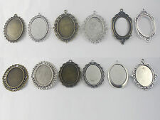 10/50pcs Blank Bezel Trays Settings Pendants For 30*40mm Oval Cabochon For DIY
