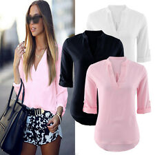 Fashion Women Ladies V-neck Mid long sleeve Casual Loose T shirt Tops Blouse