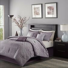 7pc Purple Comforter Bedding Set Skirt with Pillow Shams AND Decorative Pillows