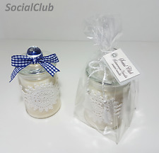 SCENTED Soy Wax DOILY Apothecary Jar Candle Natural Elegant Handmade Cream White
