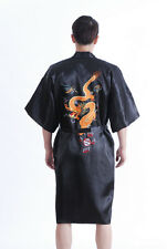 Handsome Chinese style men's silk/satin bathrobe gown/robe Black Sz: M L XL XXL