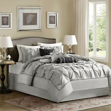 Classy Grey & Black Comforter Set Pillow Shams Bed Skirt AND Decorative Pillows