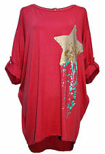 Womans Star Sequins keyhole back High Low Tunic Italian top dress Plus 16 20 24